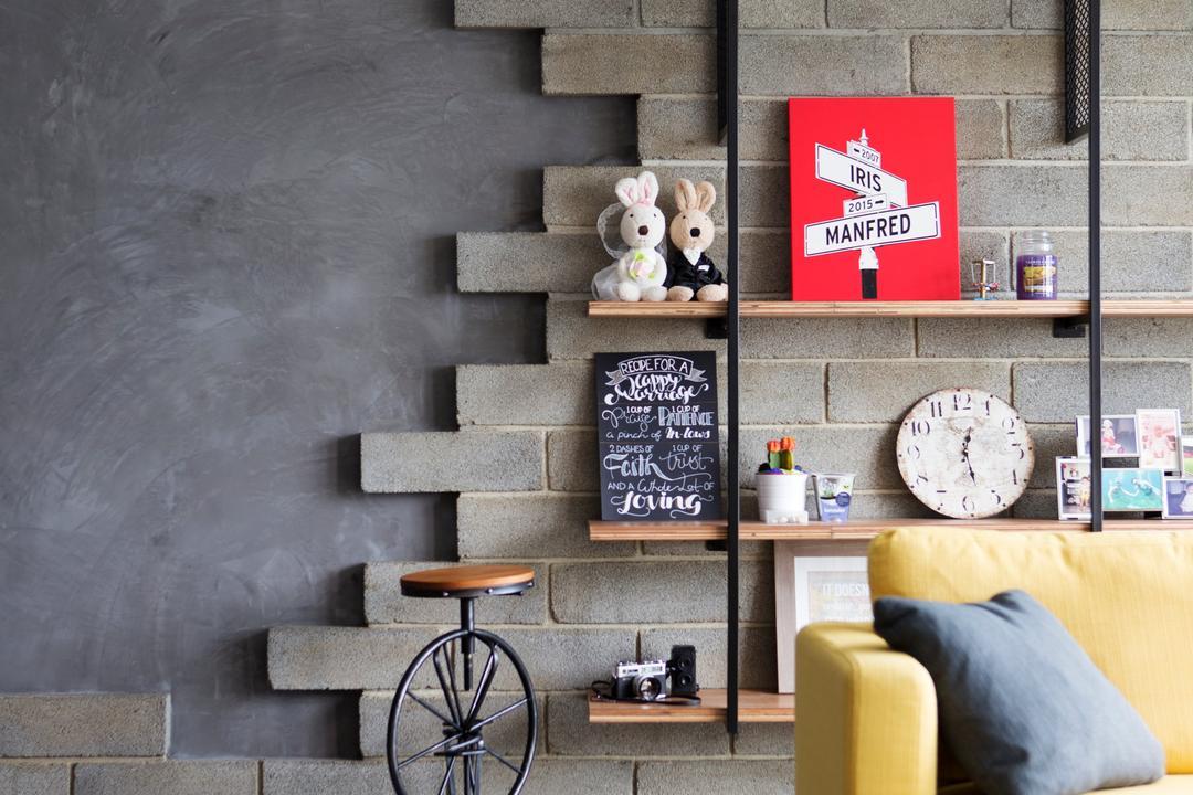Yishun Street 51, Versaform, Industrial, Living Room, HDB, Brick Wall, Wall Texture, Grey, Gray, Half Done Brick Wall, Half Brick Wall, Special Brick, Blackboard, Couch, Furniture