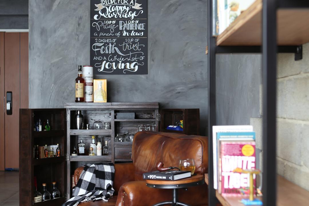 Yishun Street 51, Versaform, Industrial, Living Room, HDB, Storage, Display Shelf, Lounge Chair, Vintage Chair, Vintage Stool, Cement Screed Walls, Bag, Briefcase
