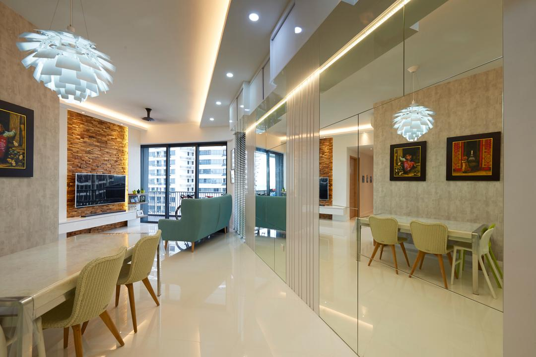 Leedon Heights, Willis Design, Modern, Dining Room, Condo, Chair, Furniture, Dining Table, Table, Indoors, Interior Design, Room, Arch, Arched, Architecture, Building, Vault Ceiling, Lamp, Lampshade