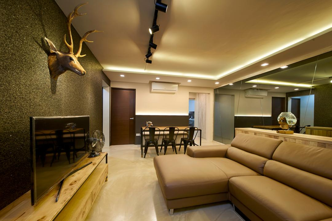 Serangoon Avenue 4, Willis Design, Eclectic, Industrial, Living Room, HDB, Couch, Furniture, Antler, Dining Table, Table
