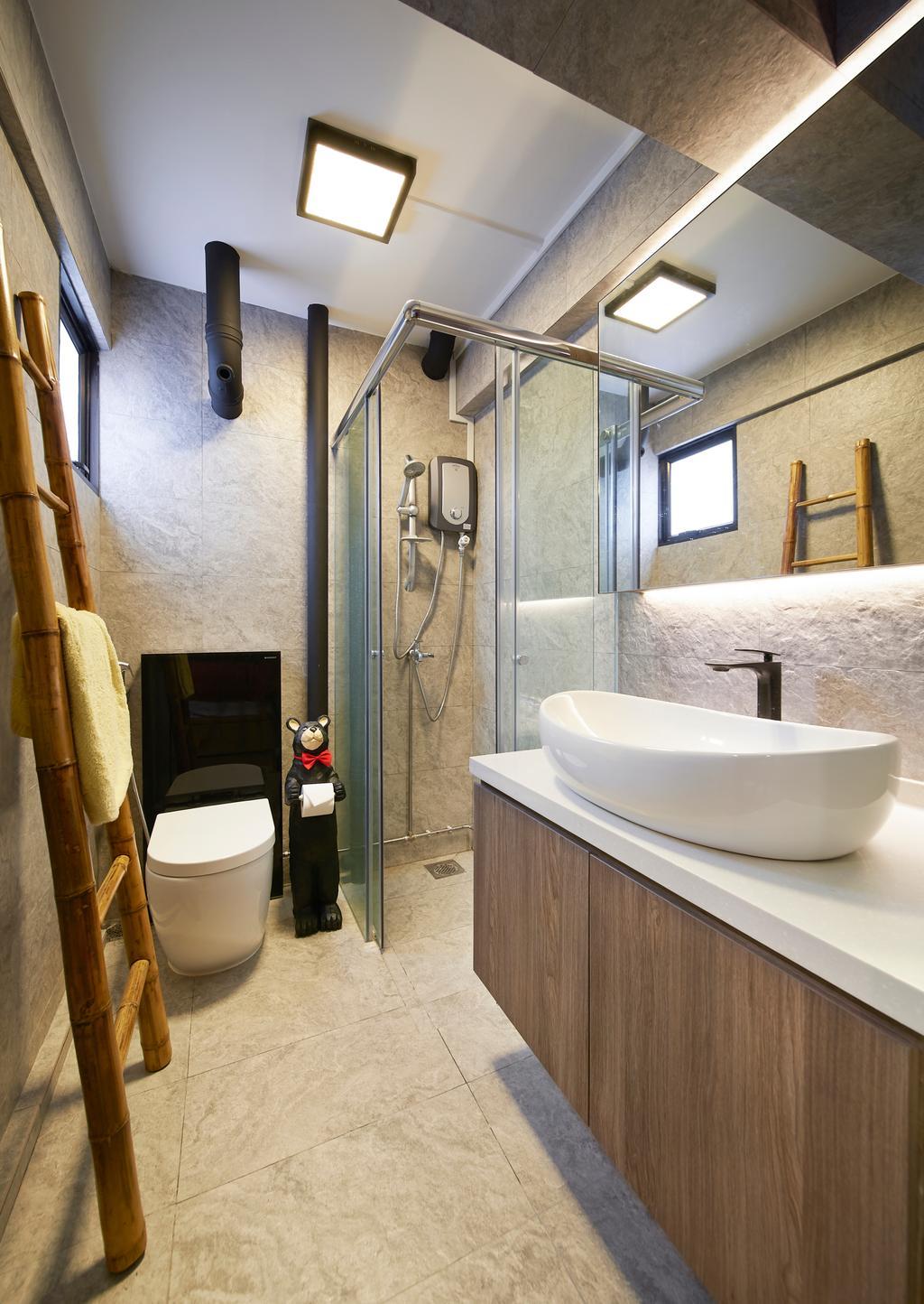 Eclectic, HDB, Bathroom, Serangoon Avenue 4, Interior Designer, Willis Design, Industrial, Bathtub, Tub, Toilet, Indoors, Interior Design, Room
