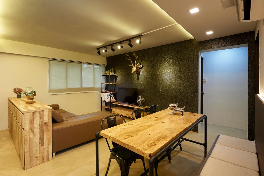 Serangoon Avenue 4, Willis Design, Eclectic, Industrial, Dining Room, HDB, Plywood, Wood, Dining Table, Furniture, Table, Antler, Indoors, Interior Design, Room