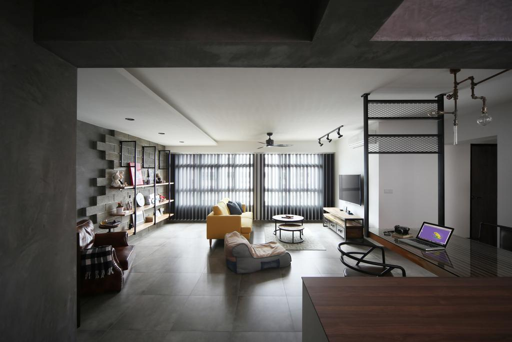 Industrial, HDB, Living Room, Yishun Street 51, Interior Designer, Versaform, Open Concept, Open Layout, Building, Housing, Indoors, Loft, Flooring