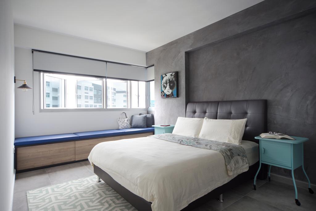 Industrial, HDB, Bedroom, Yishun Street 51, Interior Designer, Versaform, Bed, Furniture, Building, Housing, Indoors, Loft, Chair, Interior Design, Room
