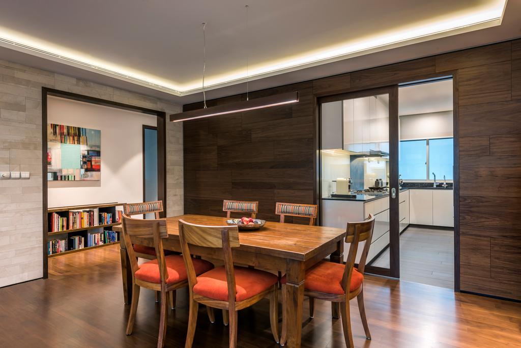 Contemporary, Condo, Dining Room, Lloyd Road, Interior Designer, akiHAUS, Chair, Furniture, Bookcase, Dining Table, Table, Indoors, Interior Design, Room, Door, Sliding Door