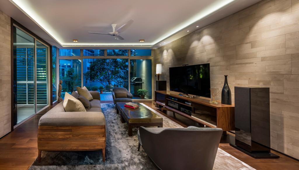 Contemporary, Condo, Living Room, Lloyd Road, Interior Designer, akiHAUS, Flora, Jar, Plant, Potted Plant, Pottery, Vase, Plywood, Wood, Electronics, Entertainment Center, Home Theater, Chair, Furniture, Indoors, Interior Design