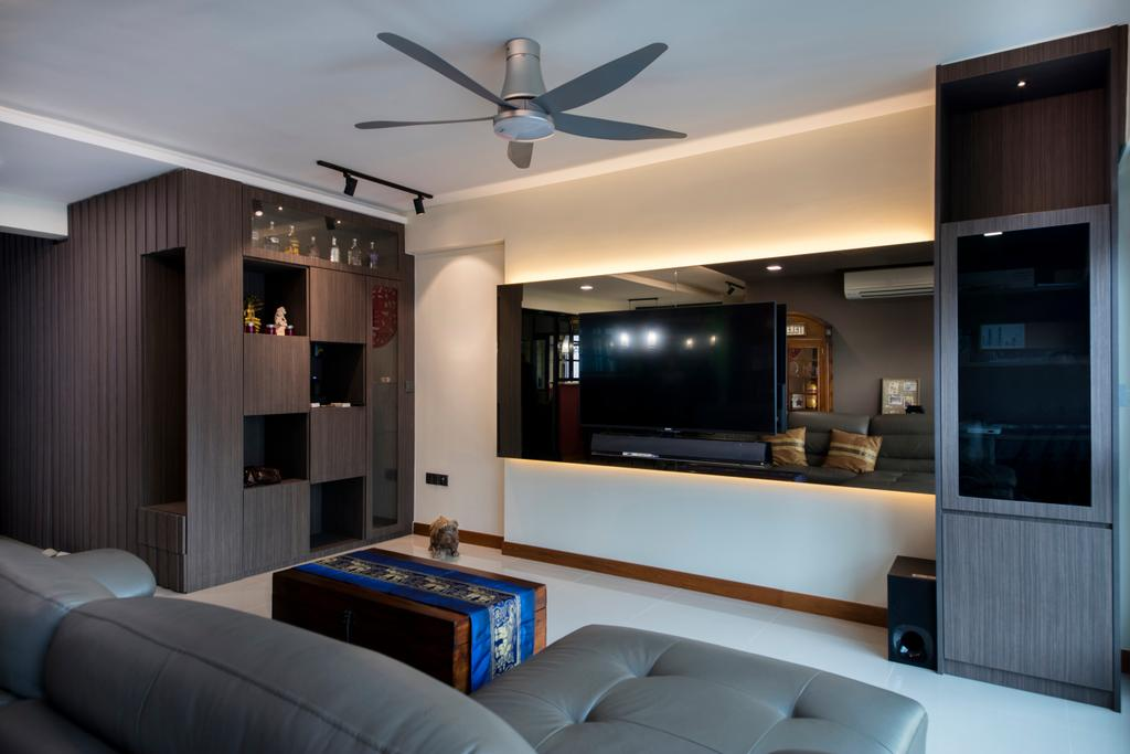 Traditional, HDB, Living Room, Punggol Way (Block 315A), Interior Designer, Tan Studio, Electronics, Entertainment Center, Home Theater, Couch, Furniture