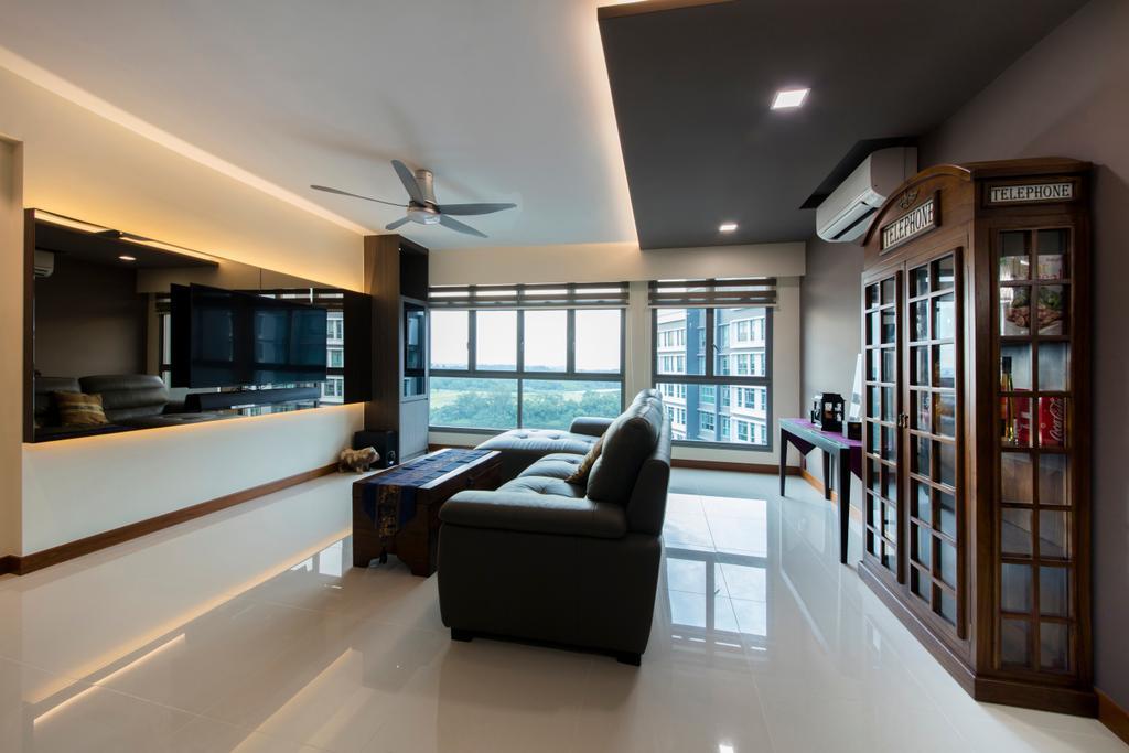 Traditional, HDB, Living Room, Punggol Way (Block 315A), Interior Designer, Tan Studio, Indoors, Interior Design, Lighting, Bookcase, Furniture, Room