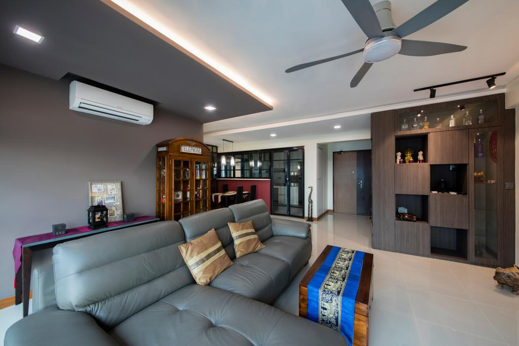 Traditional, HDB, Living Room, Punggol Way (Block 315A), Interior Designer, Tan Studio, Couch, Furniture, Light Fixture