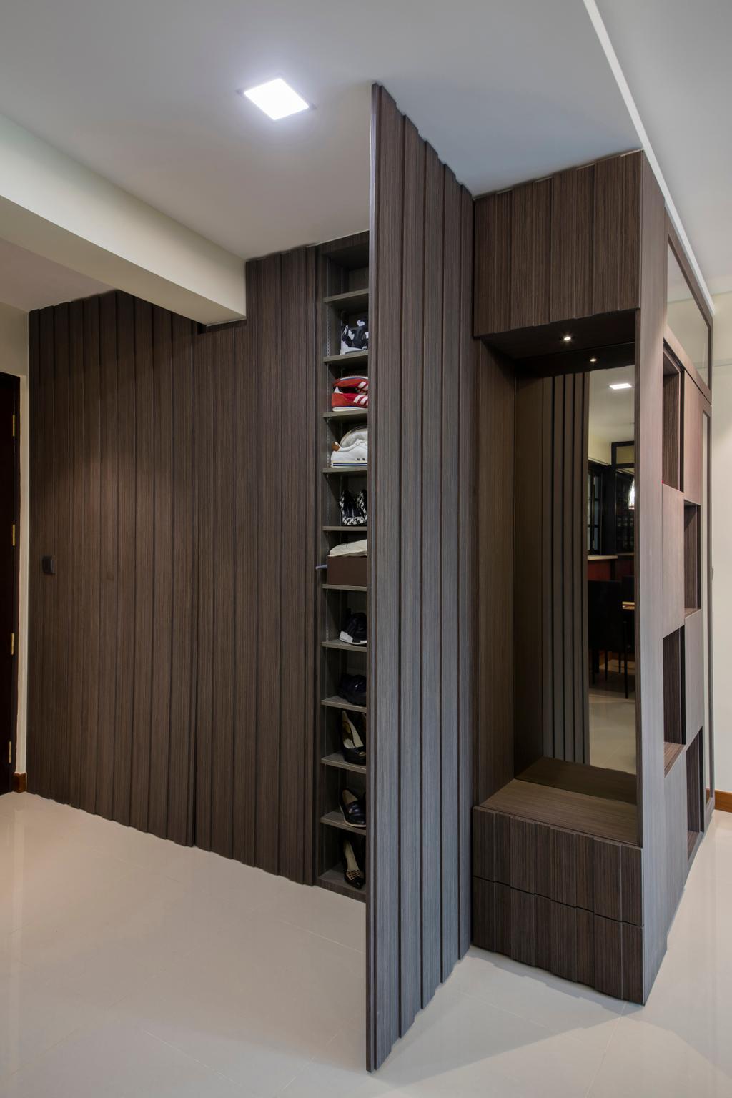 Traditional, HDB, Living Room, Punggol Way (Block 315A), Interior Designer, Tan Studio, Hidden Storage, Concealed Storage, Shoe Cabinet