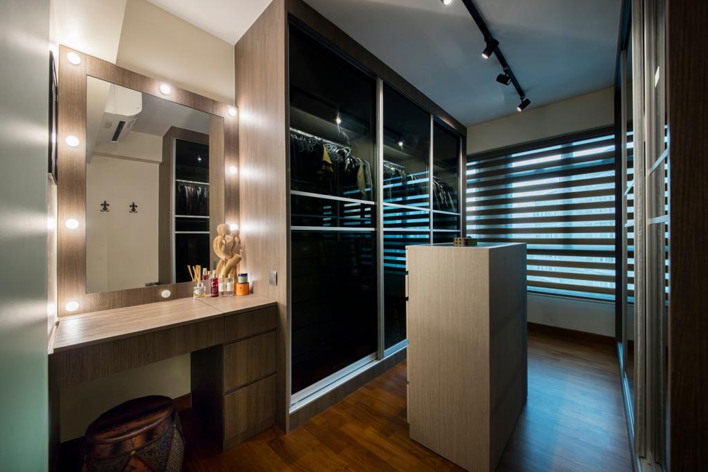 Traditional, HDB, Bedroom, Punggol Way (Block 315A), Interior Designer, Tan Studio, Dresser, Walk In Wardrobe, Dressing Room, Lighting, Indoors, Interior Design