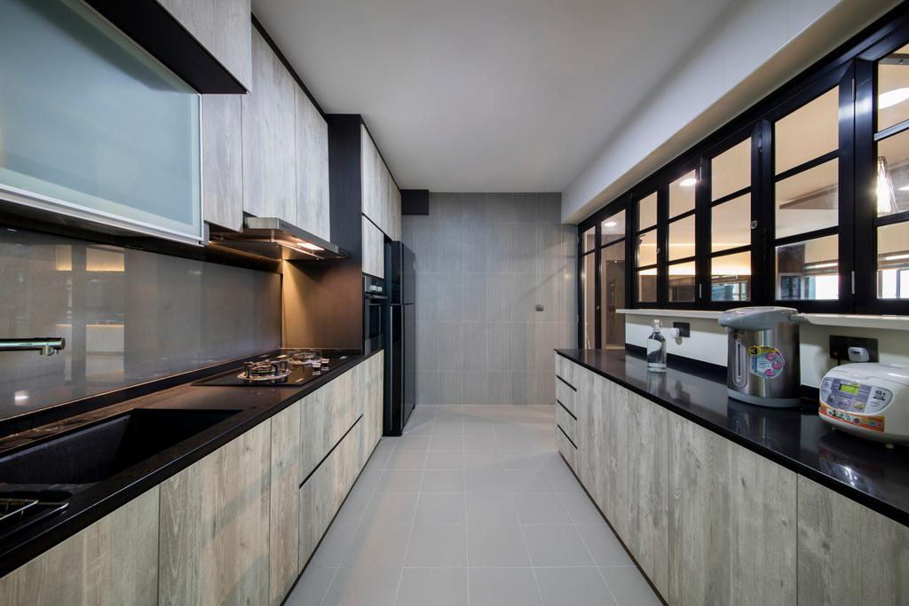 Traditional, HDB, Kitchen, Punggol Way (Block 315A), Interior Designer, Tan Studio, Appliance, Electrical Device, Microwave, Oven, Indoors, Interior Design