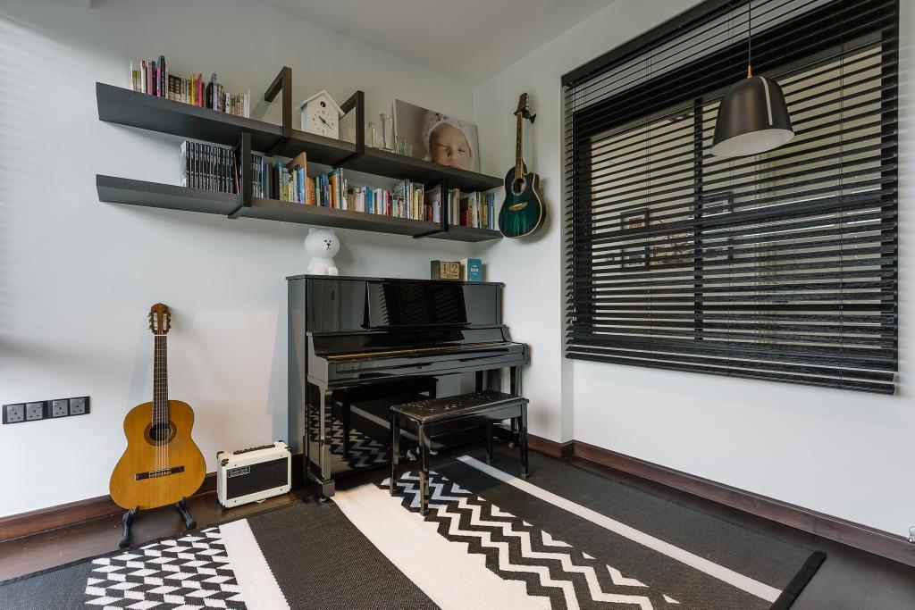 Contemporary, Condo, Study, Glendale Park, Interior Designer, Habit, Shelf, Guitar, Leisure Activities, Music, Musical Instrument