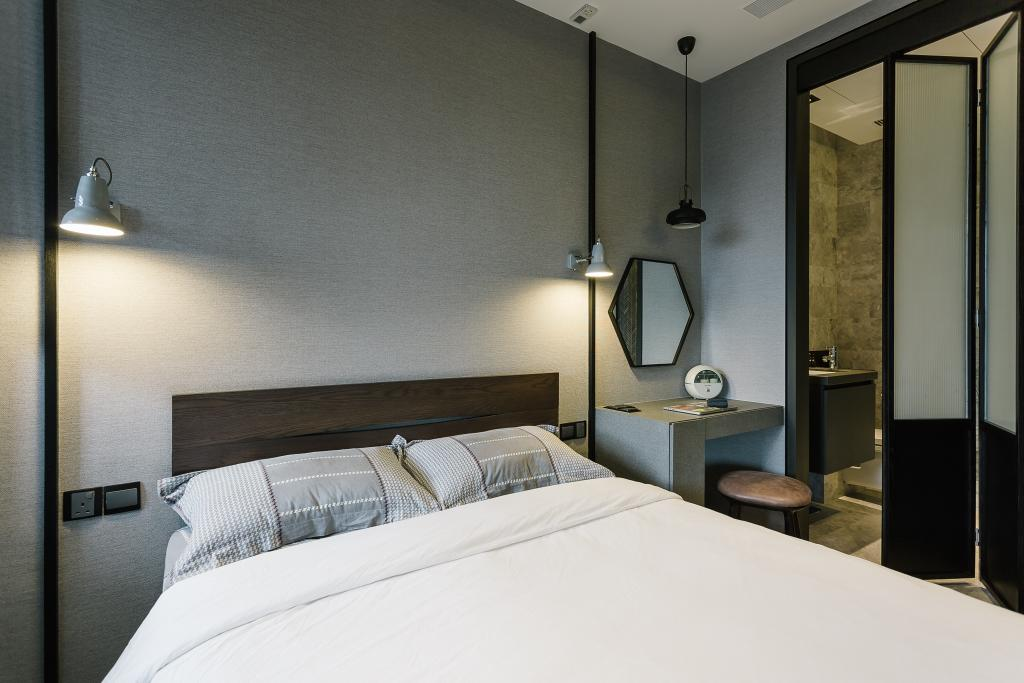 Contemporary, Condo, Bedroom, OUE Twin Peak, Interior Designer, Habit, Bathroom, Indoors, Interior Design, Room, Bed, Furniture