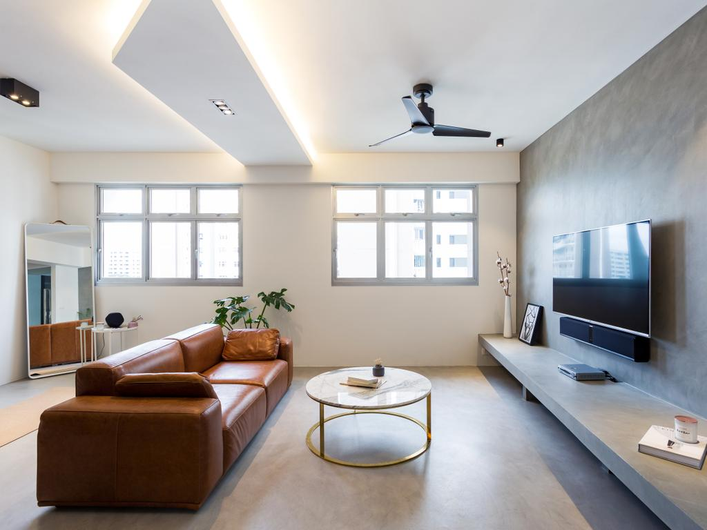 Contemporary, HDB, Living Room, Tampines Avenue 8, Interior Designer, Prozfile Design, Flora, Jar, Plant, Potted Plant, Pottery, Vase, Couch, Furniture, Coffee Table, Table, Ottoman, Indoors, Room, Light Fixture, Interior Design