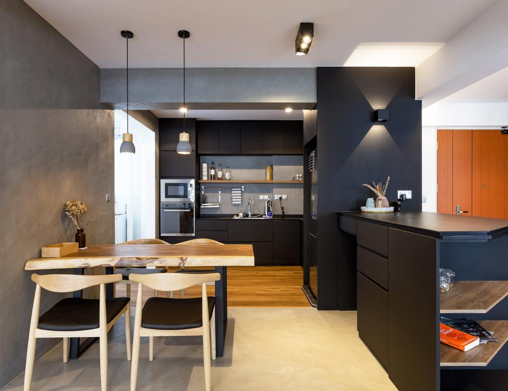 Contemporary, HDB, Kitchen, Tampines Avenue 8, Interior Designer, Prozfile Design, Book, Appliance, Electrical Device, Fridge, Refrigerator, Dining Table, Furniture, Table, Chair, Dining Room, Indoors, Interior Design, Room