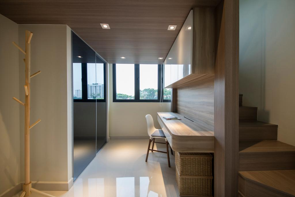 Minimalistic, Condo, Study, Urban Vista, Interior Designer, Aart Boxx Interior, Door, Sliding Door, HDB, Building, Housing, Indoors, Loft