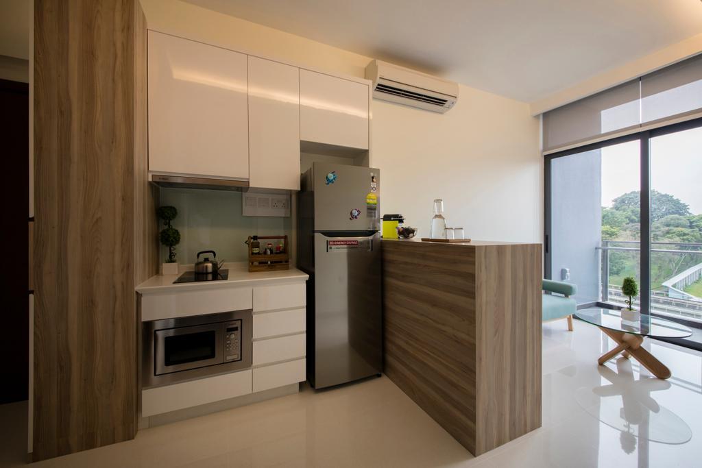 Minimalistic, Condo, Kitchen, Urban Vista, Interior Designer, Aart Boxx Interior, Appliance, Electrical Device, Microwave, Oven, Indoors, Interior Design, Room, Door, Sliding Door, HDB, Building, Housing