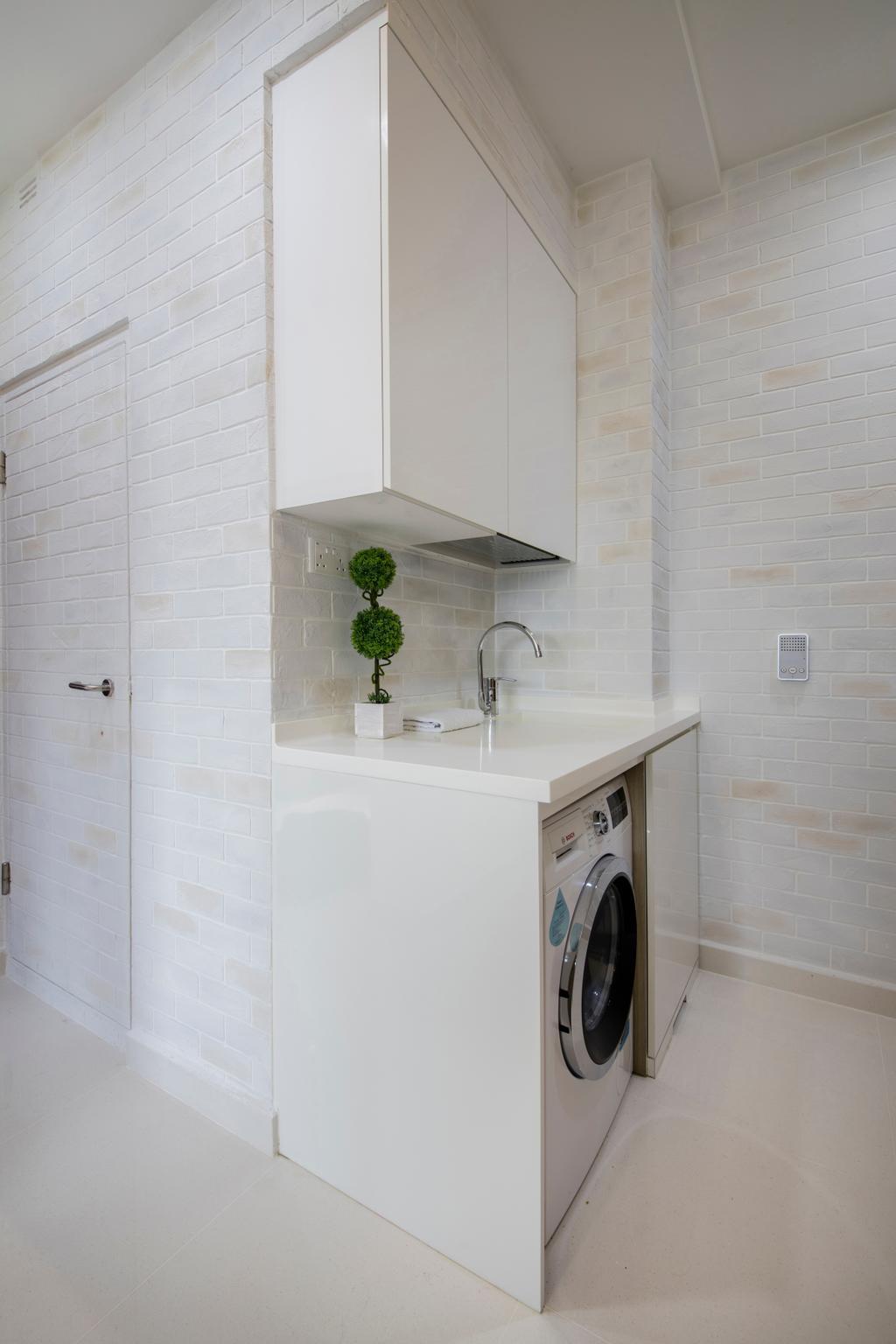 Minimalistic, Condo, Kitchen, Urban Vista, Interior Designer, Aart Boxx Interior, Yard, Service Yard, Laundry, Washer, Washing Machine