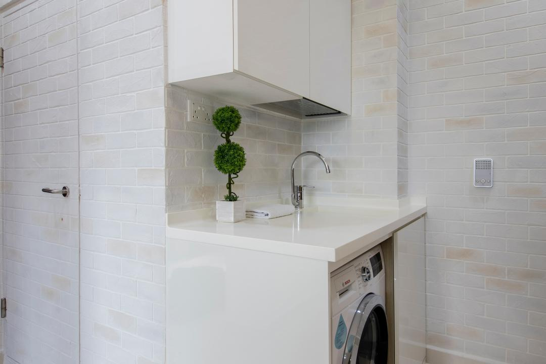 Urban Vista, Aart Boxx Interior, Minimalistic, Kitchen, Condo, Yard, Service Yard, Laundry, Washer, Washing Machine