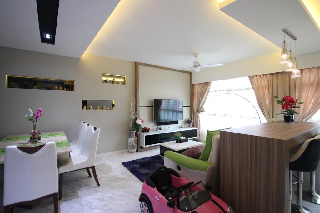 Contemporary, HDB, Living Room, Yishun Avenue 1 (Block 432B), Interior Designer, ChanInteriors, Couch, Furniture, Home Decor, Linen, Tablecloth, Dining Table, Table, Dining Room, Indoors, Interior Design, Room