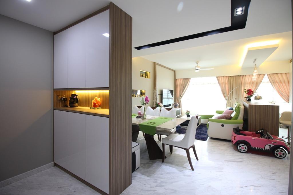 Contemporary, HDB, Living Room, Yishun Avenue 1 (Block 432B), Interior Designer, ChanInteriors, Dining Table, Furniture, Table, Indoors, Interior Design, Buggy, Transportation, Vehicle