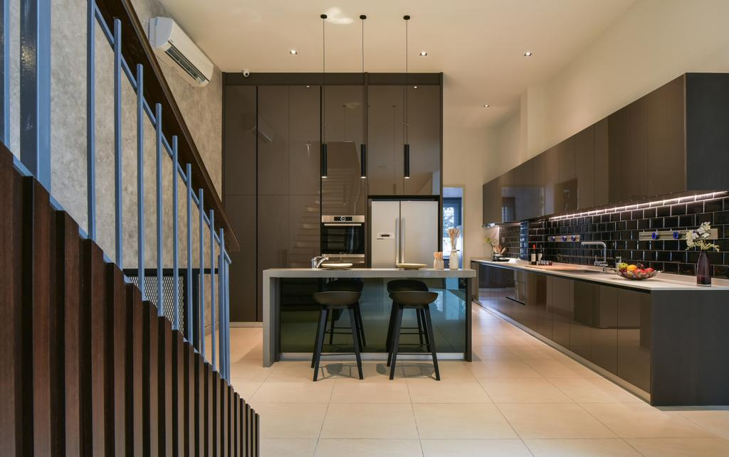 Minimalistic, Landed, Kitchen, Temasya, Glenmarie, Interior Designer, Surface R Sdn. Bhd., Contemporary, Modern, Dining Table, Furniture, Table, Indoors, Interior Design, Auditorium, Hall, Room, Theater, Appliance, Electrical Device, Oven