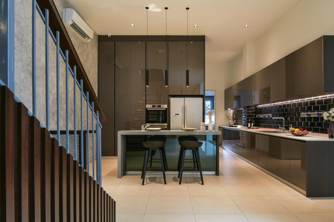 Temasya, Glenmarie, Surface R Sdn. Bhd., Minimalistic, Contemporary, Modern, Kitchen, Landed, Dining Table, Furniture, Table, Indoors, Interior Design, Auditorium, Hall, Room, Theater, Appliance, Electrical Device, Oven