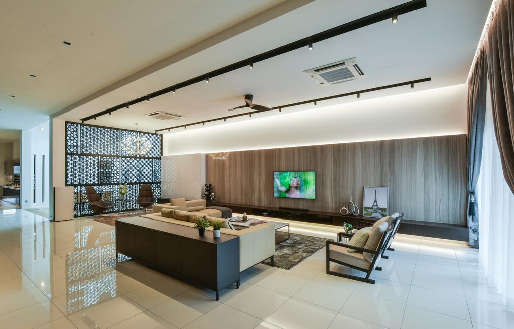 Minimalistic, Landed, Living Room, Temasya, Glenmarie, Interior Designer, Surface R Sdn. Bhd., Contemporary, Modern, Indoors, Interior Design, Electronics, Entertainment Center, Home Theater