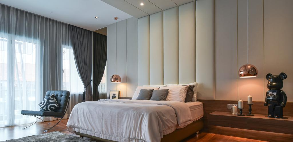 Minimalistic, Landed, Bedroom, Temasya, Glenmarie, Interior Designer, Surface R Sdn. Bhd., Contemporary, Modern, Bed, Furniture, Couch, Indoors, Room, Interior Design