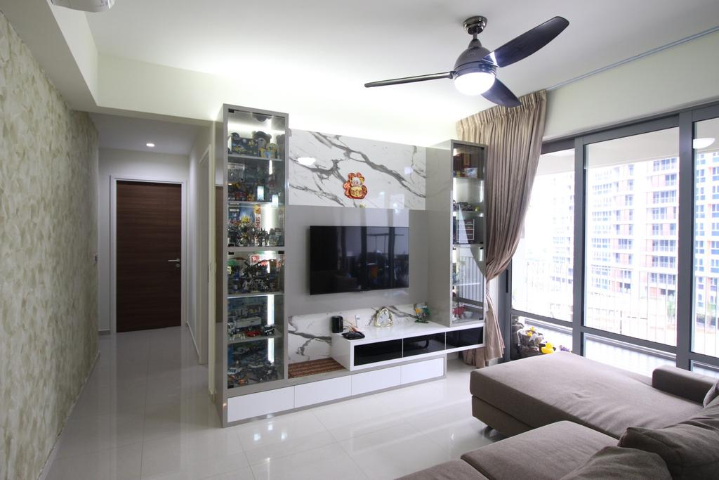 Contemporary, Condo, Living Room, Arc @ Tampines, Interior Designer, ChanInteriors, Light Fixture, Indoors, Interior Design, HDB, Building, Housing