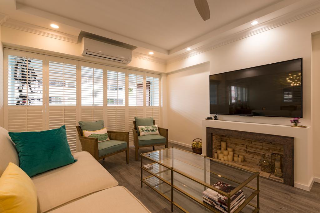 Scandinavian, HDB, Yishun Ring Road, Interior Designer, Project Guru, Bench, Indoors, Room, Fireplace, Hearth