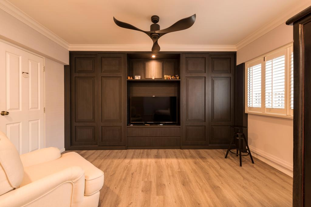 Scandinavian, HDB, Bedroom, Yishun Ring Road, Interior Designer, Project Guru, Electronics, Entertainment Center, Flooring