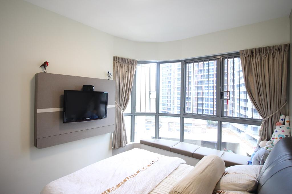 Contemporary, Condo, Bedroom, Arc @ Tampines, Interior Designer, ChanInteriors, Curtain, Home Decor, Indoors, Interior Design, Room