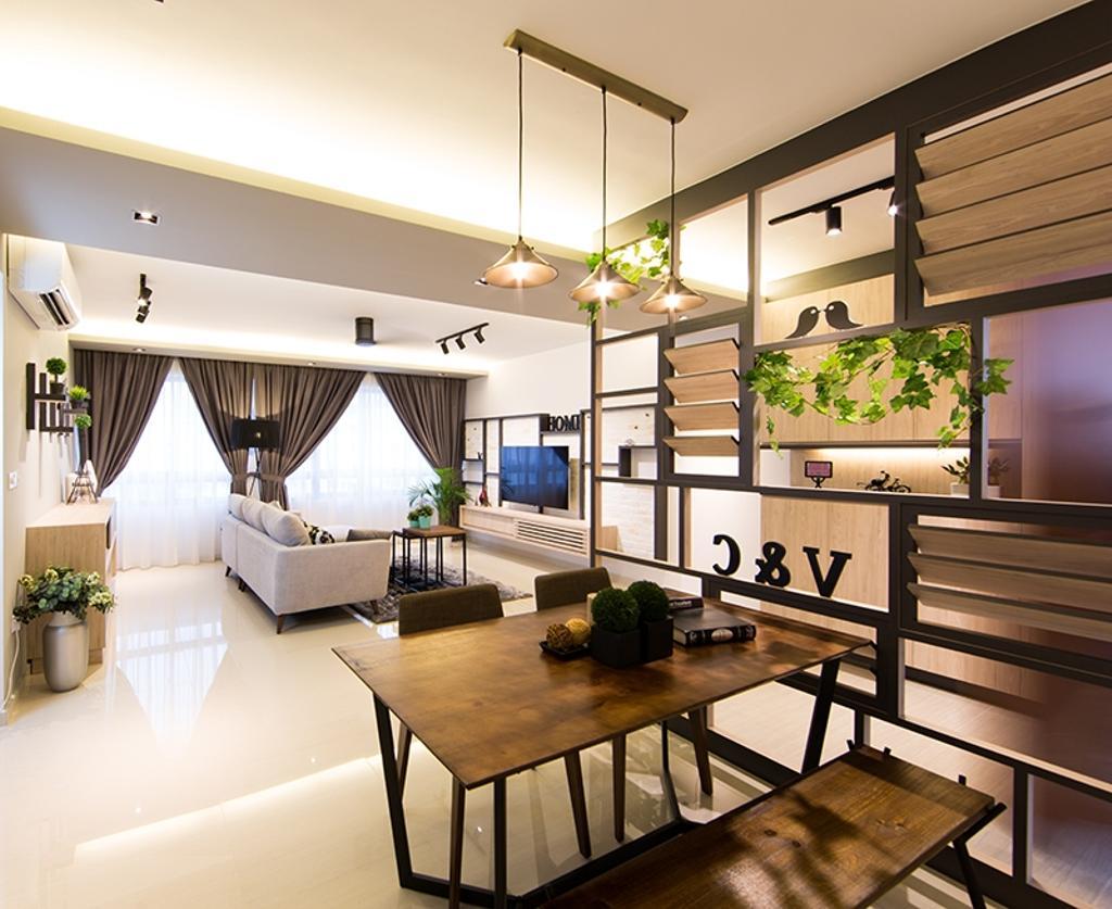 Scandinavian, HDB, Dining Room, Punggol Field (Block 259C), Interior Designer, Thom Signature Design