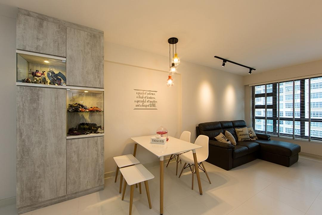 Yishun Street 31 (Block 336A), Thom Signature Design, Scandinavian, Dining Room, HDB, Wall Decal, Wall Quote, Cabinet, Grey, Gray, Laminate, Tile, Hanging Lights, Neutral Colours, Simple, Basic, Bench, Eames Chair