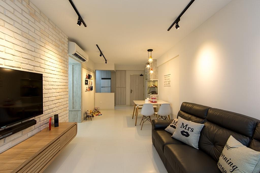 Scandinavian, HDB, Living Room, Yishun Street 31 (Block 336A), Interior Designer, Thom Signature Design, Hallway, Walkway, Dining Table, Cosy, Warm, Spacious, Simple, Sofa, Cushions