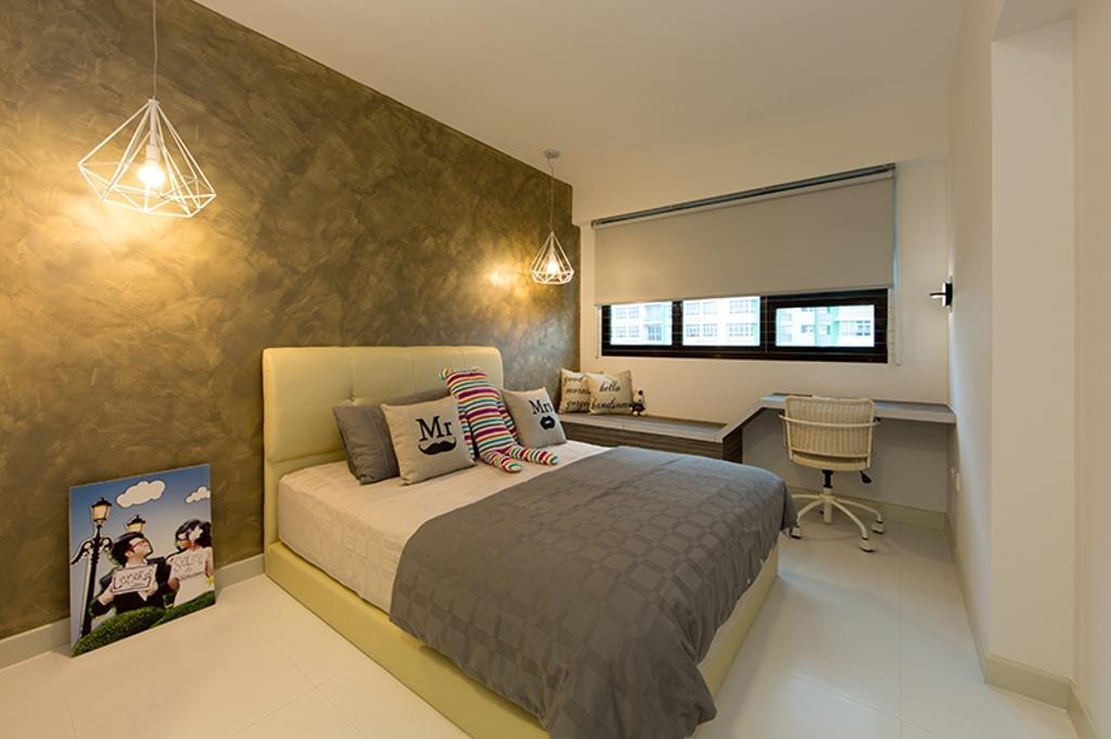 Scandinavian, HDB, Bedroom, Yishun Street 31 (Block 336A), Interior Designer, Thom Signature Design, Blinds, Grey, Gray, Warm, Cosy, Neutral Colours