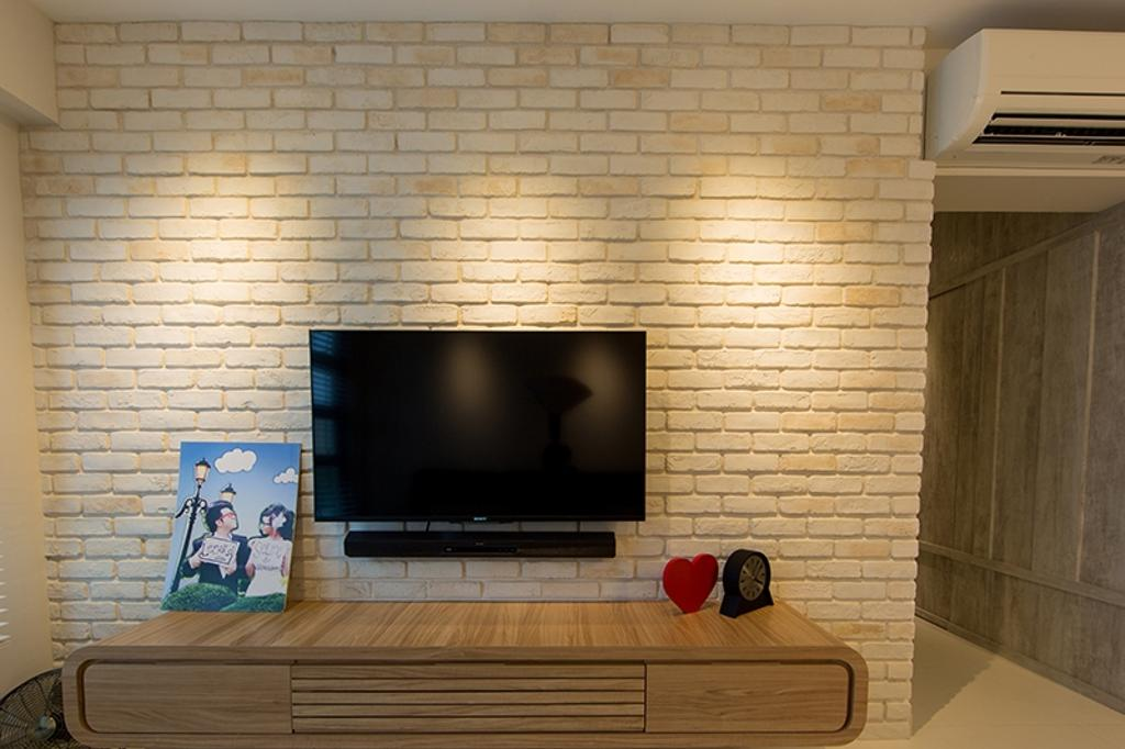 Scandinavian, HDB, Living Room, Yishun Street 31 (Block 336A), Interior Designer, Thom Signature Design, Brick Wall, Cream Brick, Feature Wall, Tv Console, Wooden Console, Television