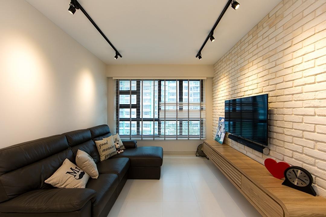 Yishun Street 31 (Block 336A), Thom Signature Design, Scandinavian, Living Room, HDB, Venetian Blind, Window, Track Lights, Sofa, Cushions, Walkway, Tile, Tv Console, Brick Wall, Craftstone, Cream Bricks, Simple, Basic, Warm, Cosy