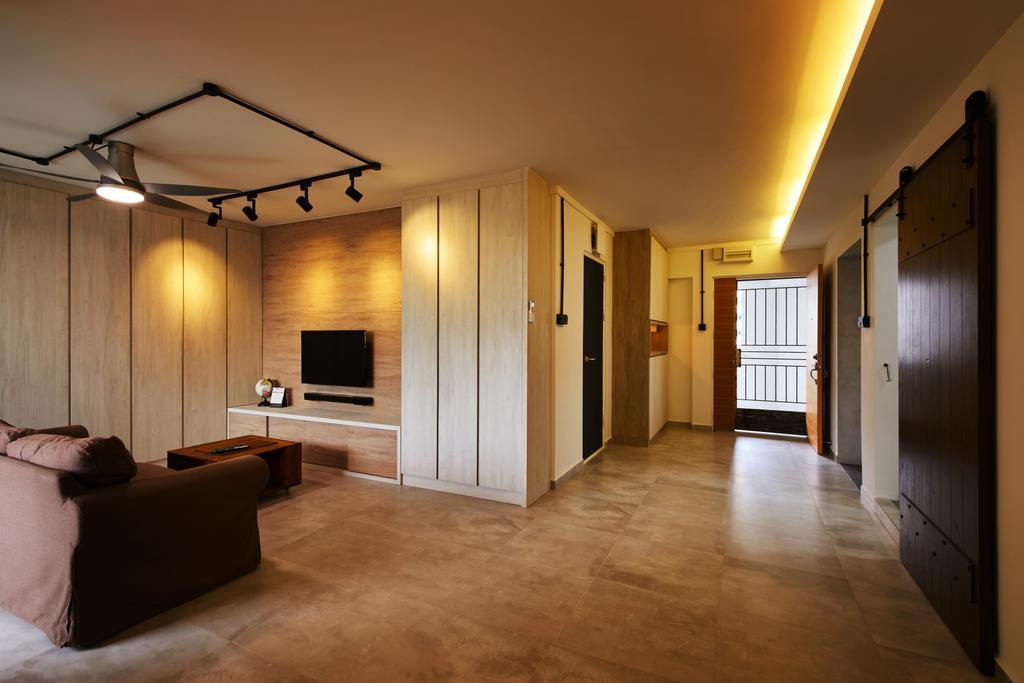 Minimalistic, HDB, Living Room, Compassvale (Block 252), Interior Designer, The Local INN.terior 新家室, Scandinavian, Couch, Furniture, Flooring, Floor
