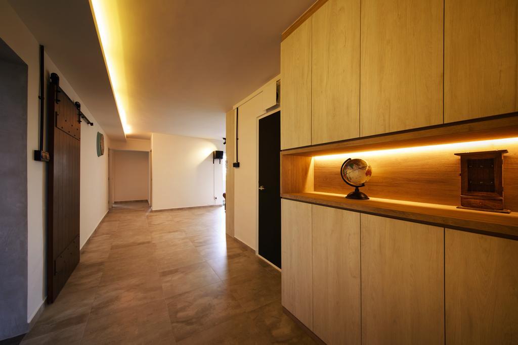 Minimalistic, HDB, Living Room, Compassvale (Block 252), Interior Designer, The Local INN.terior 新家室, Scandinavian, Flooring