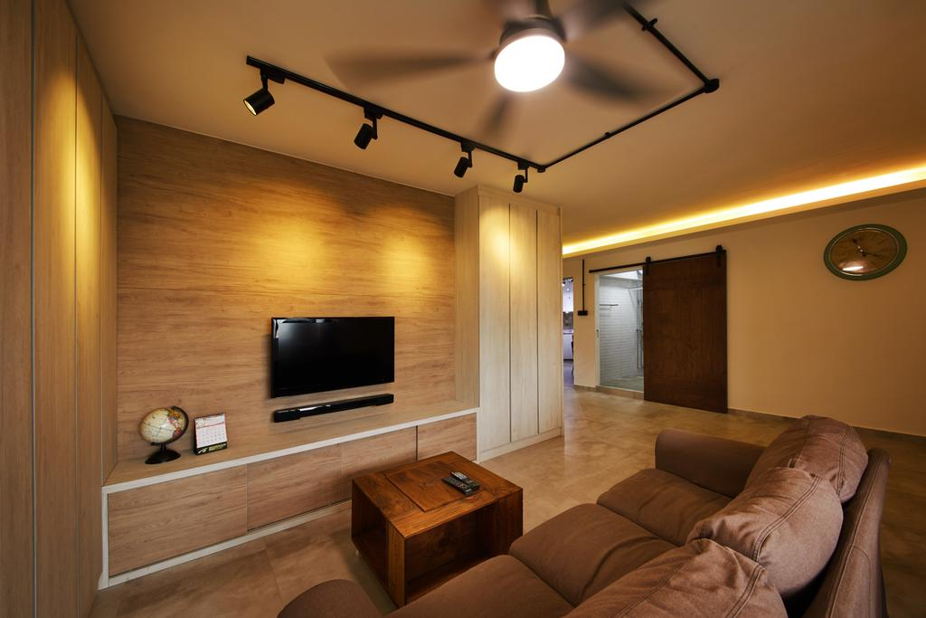 Minimalistic, HDB, Living Room, Compassvale (Block 252), Interior Designer, The Local INN.terior 新家室, Scandinavian, Couch, Furniture, Electronics, Entertainment Center, Home Theater