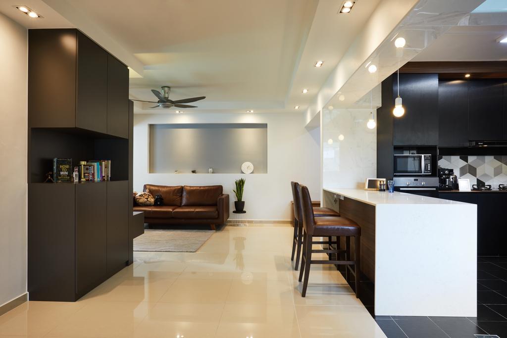 Modern, HDB, Living Room, Senja Road (Block 606), Interior Designer, The Local INN.terior 新家室, Lighting, Dining Table, Furniture, Table, Indoors, Interior Design, Kitchen, Room