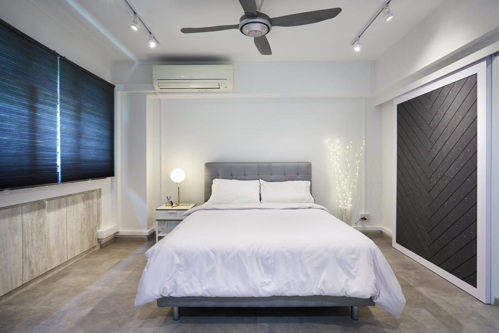 Modern, HDB, Bedroom, Senja Road (Block 606), Interior Designer, The Local INN.terior 新家室, Bed, Furniture, Indoors, Interior Design, Room
