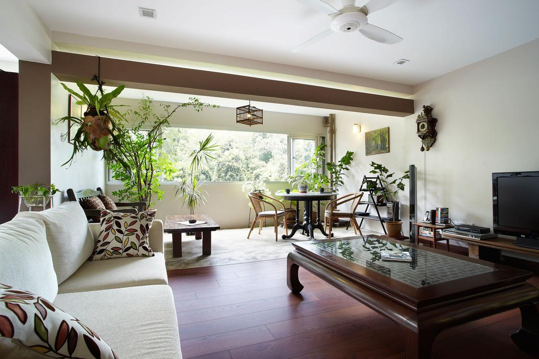Upper Thomson Road, D5 Studio Image, Traditional, Living Room, HDB, Ceiling Fan, Beam, Wooden Beam, Coffee Table, Sofa, Cream, Wood Accents, Couch, Furniture, Indoors, Interior Design, Dining Room, Room, Flora, Jar, Plant, Potted Plant, Pottery, Vase