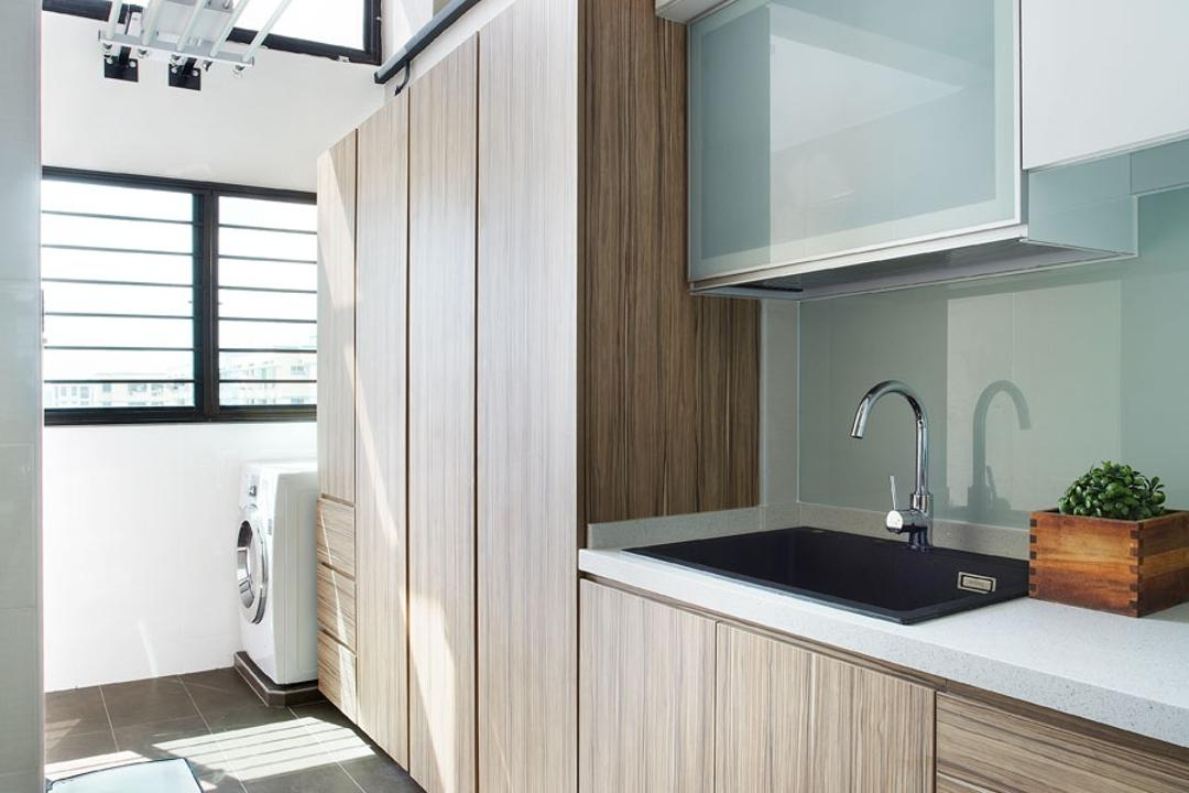Woodlands Cresent, D5 Studio Image, Modern, Kitchen, HDB, Tiles, Laminate, Countertop, Kitchen Counter, Hanging Rack, Automated Clothes Rack, Washing Machine, Cabinet, Kitchen Cabinetry, Indoors, Interior Design, Flora, Jar, Plant, Potted Plant, Pottery, Vase