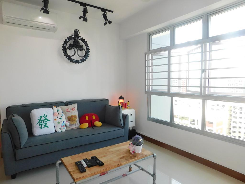 Industrial, HDB, Living Room, Telok Blangah Heights (Block 70C), Interior Designer, DB Studio, Couch, Furniture, Gear, Machine, Spoke, Wheel