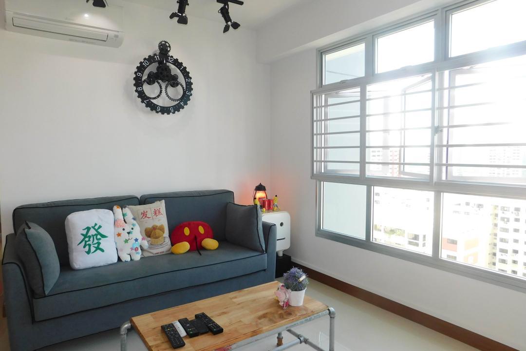 Telok Blangah Heights (Block 70C), DB Studio, Industrial, Living Room, HDB, Couch, Furniture, Gear, Machine, Spoke, Wheel