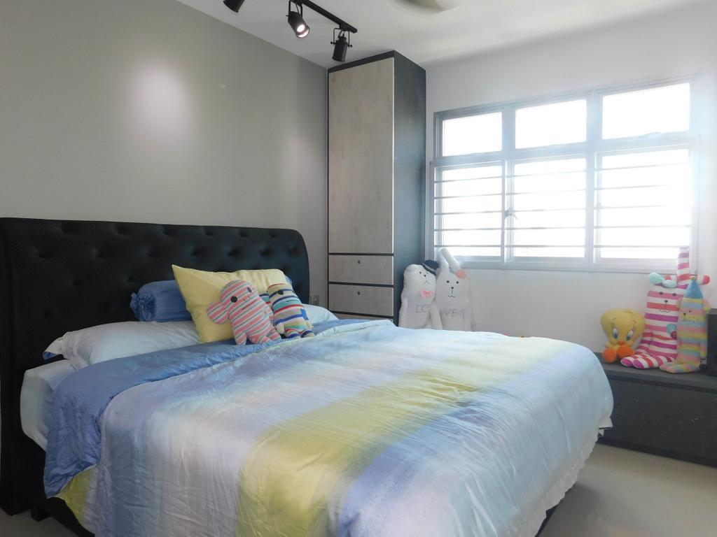 Industrial, HDB, Bedroom, Telok Blangah Heights (Block 70C), Interior Designer, DB Studio, Bed, Furniture, Indoors, Interior Design, Room